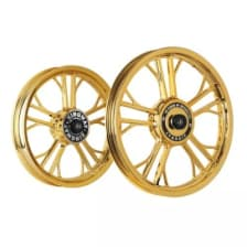 Buy ALLOY WHEEL SET FOR RE ELECTRA HARLEY YMODEL GOLD CHROME KINGWAY on  % discount