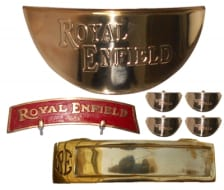 Buy BRASS FRONT MUDGUARD PLATE RED WITH  HEADLIGHT CAP, INDICATOR CAP AND FRONT NUMBER PLATE  FOR ROYAL ENFIELD BULLET ZADON on  % discount