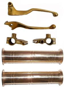 Buy BRASS HANDLE GRIP D2 AND LEVER SET WITH YOKE D2 FOR ROYAL ENFIELD BULLET ZADON on 15.00 % discount