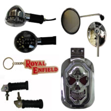 Buy CHROME PLATED INDICATOR BLUE SET OF 2 WITH FANCY KEY CHAIN BULLET (RED), STYLISH SILVER FOOT REST ROYAL ENFIELD. CHROME PLATED REAR VIEW MIRROR AND STYLISH SKULL TAIL LIGHT ZADON on 28.00 % discount