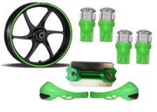 Buy GREEN FANCY DISC CAP WITH LED BULB SMALL SET OF 4, HAND PROTECTOR SET AND  MONSTER ENERGY REFLECTIVE TAPE ZADON on 20.00 % discount