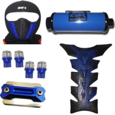 Buy FACE MASK FOR RIDERS(BLUE-BLACK) WITH FANCY DISC CAP, LED BULB SMALL SET OF 4 BLUE COLOR,UNIVERSAL CBZ SILENCER AND PETROL TANK PAD ZADON on 20.00 % discount