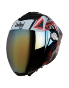 Buy FULL FACE HELMET SBA-2 SKULL FLAG MAT BLACK WITH RED CHROME GOLD VISOR  STEELBIRD AIR on 0 % discount