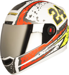 Buy FULL FACE HELMET AIR RAGE MAT WHITE WITH RED AND YELLOW (600MM)  STEELBIRD on 0 % discount