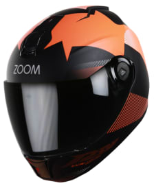 Buy FULL FACE HELMET SBH-11 ZOOM TRACE MAT BLACK WITH ORANGE   HIGN on  % discount