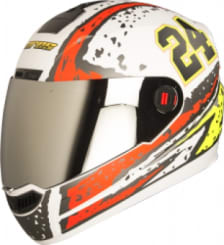 Buy FULL FACE HELMET AIR RAGE MAT WHITE WITH RED AND YELLOW  STEELBIRD on 0 % discount