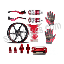 Buy MAROON  MONSTER ENERGY REFLECTIVE TAPE WITH HANDLE YOKE BOLT, TYRE MOZZLE CAP FANCY DISC CAP AND PETROL TANK PAD (TRANSPARENT MAROON),RIDE IT ADJUSTABLE LEVER SET  FANCY FOOT REST MONSTER ENERGY AND PRO BIKER RIDING GLOVES ZADON on 10.00 % discount