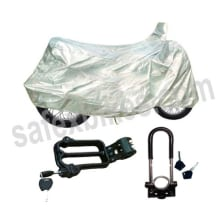 Buy UNIVERSAL BODY COVER WITH HELMET LOCKING DEVICE AND MONSTER WHEEL LOCK ZADON on 20.00 % discount