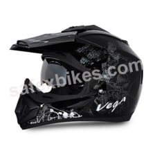 Buy Vega MOTOCROSS full face Helmet - Off Road Sketched (Black Base With Silver Graphics) on 10.00 % discount