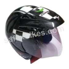 Buy OZONE OPEN FACE (Black with green & white graphics )HELMET OZZY on 0 % discount