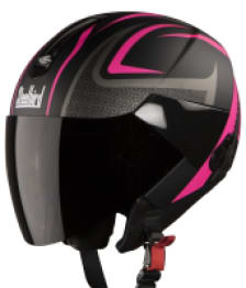 Buy OPEN FACE HELMET SB-33 EVE SUBLIME MAT BLACK WITH PINK STEELBIRD on 0 % discount