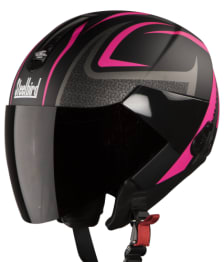 Buy OPEN FACE HELMET SB-33 EVE SUBLIME MAT BLACK WITH PINK (580MM) STEELBIRD on 0 % discount