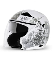 Buy Vega open face Helmet - Eclipse - ZickZack (White) on 10.00 % discount