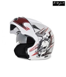 Buy Vega flip up Helmet - Boolean Graphic (White Base with Red Graphics) on 10.00 % discount