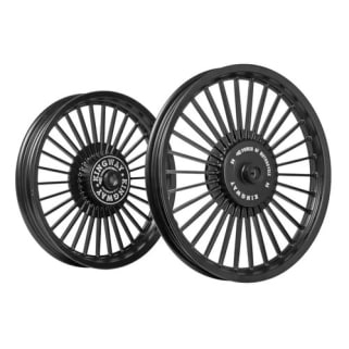 Click to Zoom Image of ALLOY WHEEL SET FOR RE STANDARD 30SPOKES COMPLETE BLACK HARLEY TYPE KINGWAY