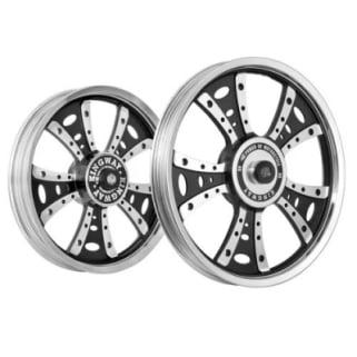 Click to Zoom Image of ALLOY WHEEL SET FOR RE ELECTRA FATBOY HARLEY CNC RIM BLACK SPOKES KINGWAY
