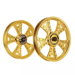 Click to Zoom Image of ALLOY WHEEL SET FOR RE STANDARD FATBOY HARLEY GOLD CHROME KINGWAY