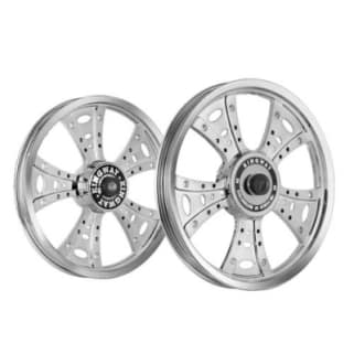 Click to Zoom Image of ALLOY WHEEL SET FOR RE STANDARD FATBOY HARLEY SILVER CHROME KINGWAY