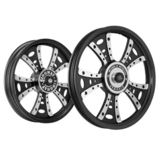 Click to Zoom Image of ALLOY WHEEL SET FOR RE CLASSIC FATBOY HARLEY DESIGN IN BLACK SPOKES CNC KINGWAY