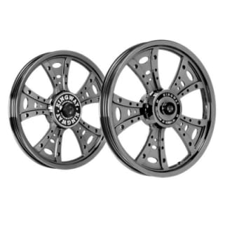Click to Zoom Image of ALLOY WHEEL SET FOR RE THUNDERBIRD NEW MODEL FATBOY HARLEY BLACK CHROME KINGWAY