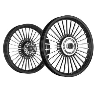Click to Zoom Image of ALLOY WHEEL SET FOR RE CLASSIC 30SPOKES CNC WITH BLACK RIM HARLEY TYPE KINGWAY