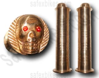 Click to Zoom Image of BRASS SKULL HANDLE GRIP WITH PIPE ROYAL ENFIELD BULLET ZADON