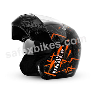 Click to Zoom Image of Vega flip up Helmet - Boolean Street (Black Base with Orange Graphic Helmet)