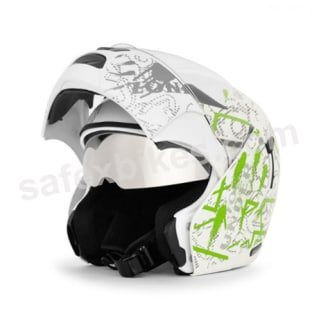 Click to Zoom Image of Vega flip up Helmet - Boolean Street (White Base with Green Graphic Helmet)