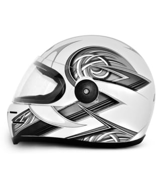 Click to Zoom Image of Vega - Full Face Helmet - Formula HP Warrior ( White Base with Silver Graphics)