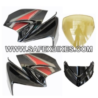 Click to Zoom Image of FRONT FAIRING (VISOR) KARIZMA SET OF 4 UB WITH OET GLASS ZADON