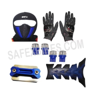 Click to Zoom Image of FACE MASK FOR RIDERS(BLUE-BLACK) WITH BLACK PRO BIKES GLOVES, FANCY DISC CAP, LED BULB SMALL SET OF 4 BLUE COLOR AND PETROL TANK PAD ZADON