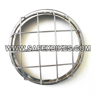 Click to Zoom Image of HEAD LIGHT JALI / GRILL CHROME PLATED FOR ROYAL ENFIELD BULLET D2 ZADON