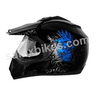 Click to Zoom Image of Vega MOTOCROSS full face Helmet - Off Road D/V Ranger (Black Base With Blue Graphic)