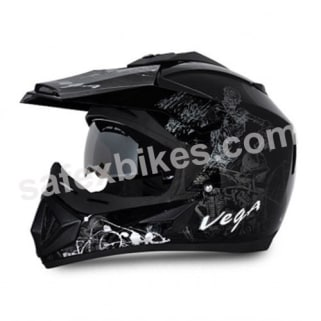 Click to Zoom Image of Vega MOTOCROSS full face Helmet - Off Road Sketched (Black Base With Silver Graphics)