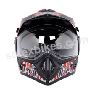 Click to Zoom Image of Vega motocross full face Helmet - Off Road Shocker (Black Base with Red Graphics)
