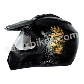 Click to Zoom Image of Vega motocross full face Helmet - Off Road D/V Ranger (Dull Black Base With Gold Graphic)