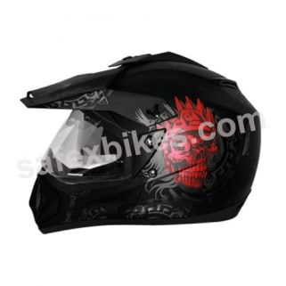 Click to Zoom Image of Vega motocross full face Helmet - Off Road D/V Ranger (Dull Black Base With Red Graphic)