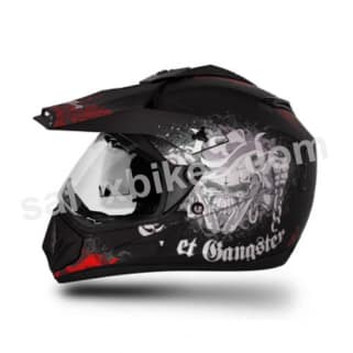 Click to Zoom Image of Vega motocross full face Helmet - Off Road Gangster (Dull Black Base With Red Graphics)