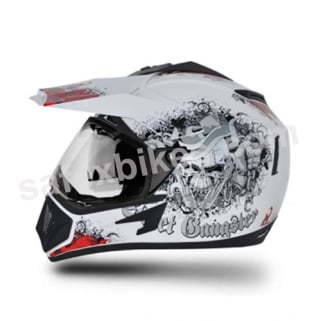 Click to Zoom Image of Vega motocross full face Helmet - Off Road Gangster (White Base With Red Graphics)