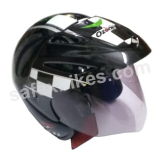 Click to Zoom Image of OZONE OPEN FACE (Black with green & white graphics )HELMET OZZY