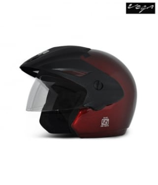 Click to Zoom Image of Vega open face Helmet - Cruiser With Peak (Burgundy)