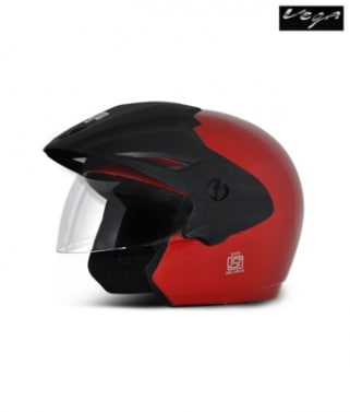 Click to Zoom Image of Vega open face Helmet - Cruiser With Peak (Red)