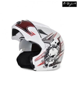 Click to Zoom Image of Vega flip up Helmet - Boolean Graphic (White Base with Red Graphics)