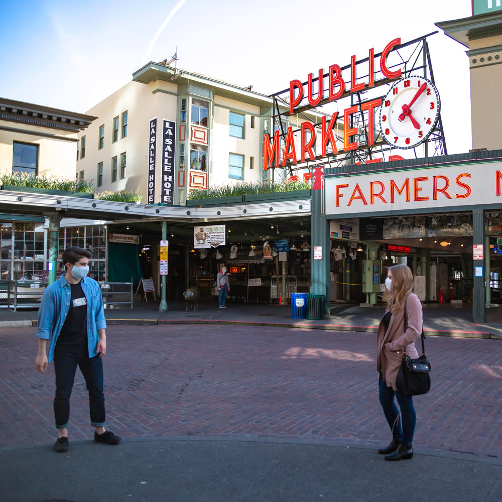 social distancing at Pike Place Market