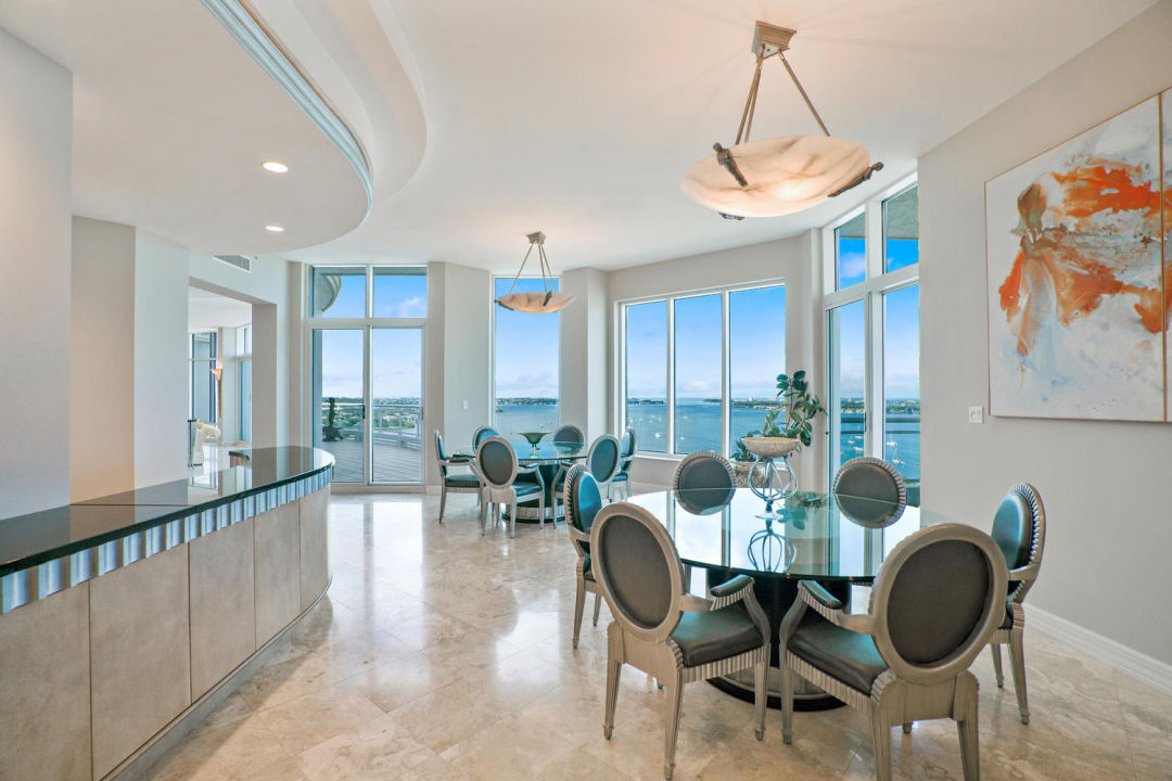 Dining room in Sarasota penthouse