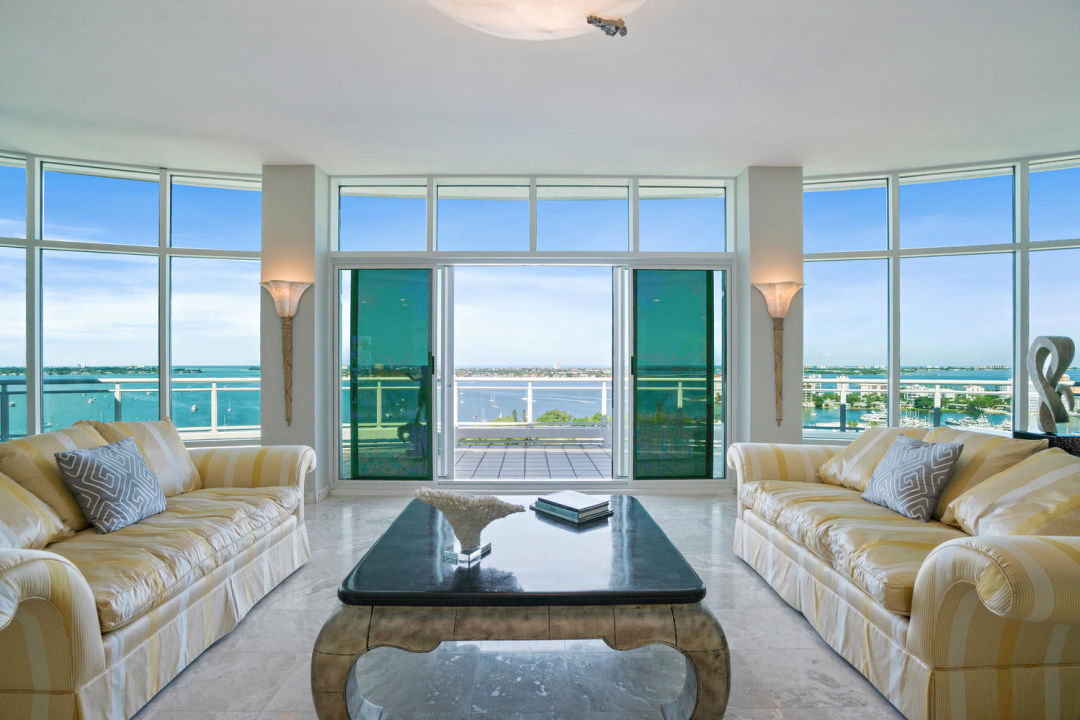 View of Sarasota penthouse from living room to terrace