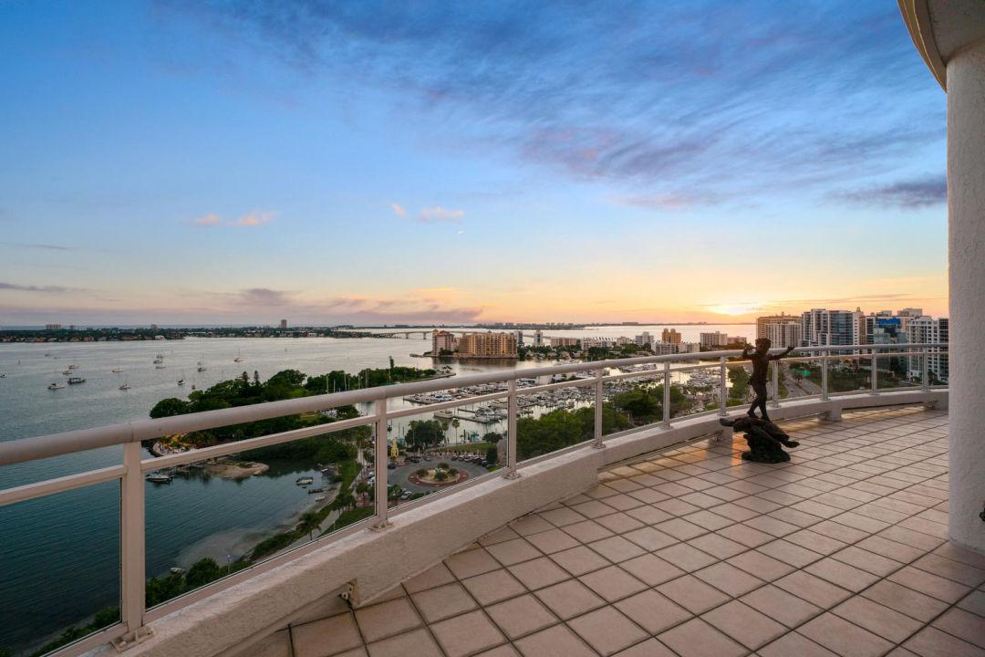 Sunset view from Sarasota penthouse