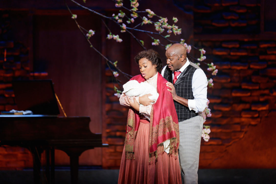 Danyel fulton as sarah and douglas lyons as coalhouse walker  jr. in ragtime   photo credit mark kitaoka jc6kai