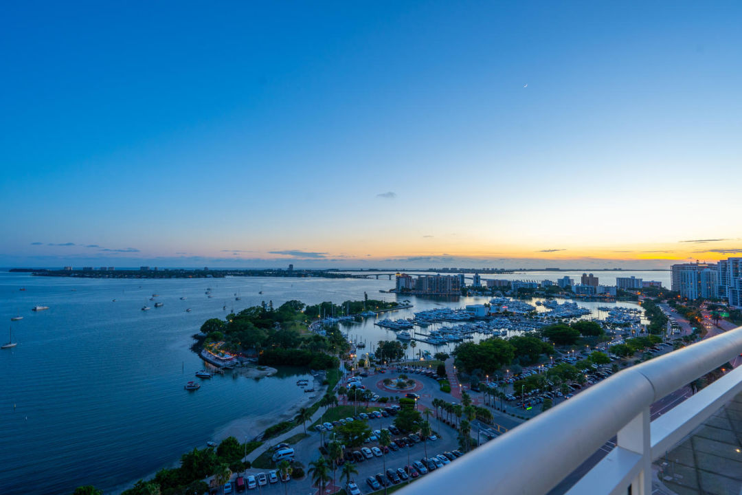 View of sunset from Sarasota penthouse