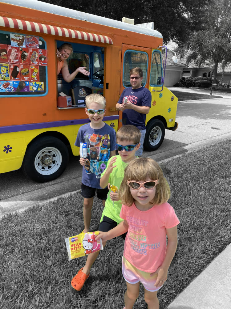 Tammy Hauser with some happy customers at her ChillMobile ice cream truck